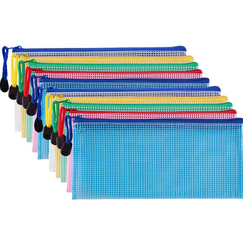 10 Pieces Zipper File Pouch Grid Document Bag Multipurpose Storage Pouch Bags For Offices Supplies Travel Accessories,5 Colors