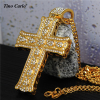 New Trendy Men S 18K Gold Plated Heart Religious Cross Necklace Iced Out Stainless Steel Large