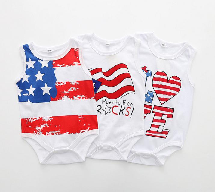 Love Puerto Rico Flag Infant Baby Boys Girls Short Sleeve Jumpsuit Outfit 0-24 Months