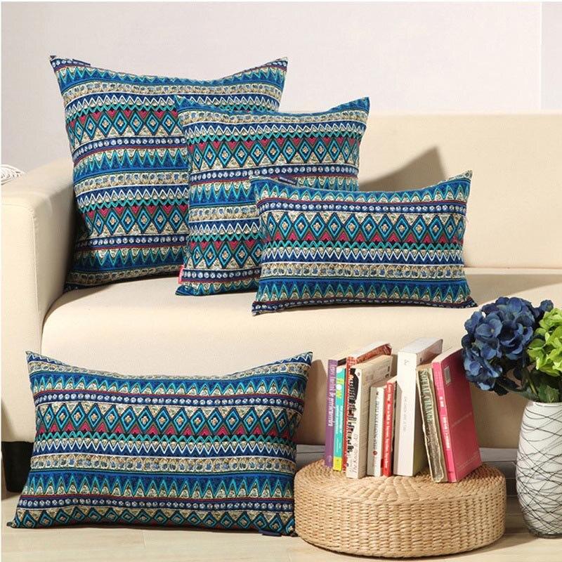 Pillow Case Bohemian Geometric Vintage Ethnic Print Cotton Throw Pillowcase Cushion Cover Sofa Bedroom Home Decorative Gifts