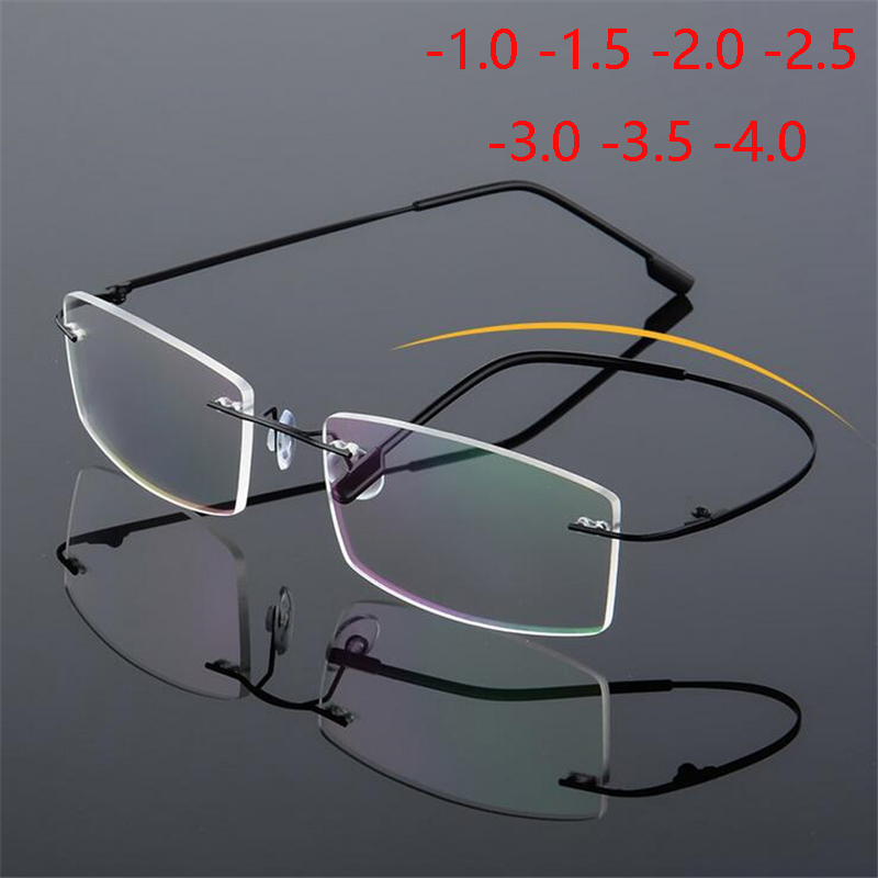 -1.0 -1.5 To -4.0 Ultralight Coating Frameless Finished Myopia Glasses Men Women Rimless Stainless Steel Leg Nearsight Glasses