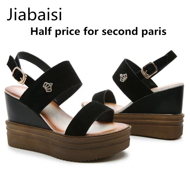 Jiabaisi shoes Women sandal new summer wedges Heel fashion PU crystal strap comfort platform sandals solid ladies shoes women 2015 summer new fashion and leisure solid cool women sandls flat buckle knot women sandal breathable comfort women sandals e309