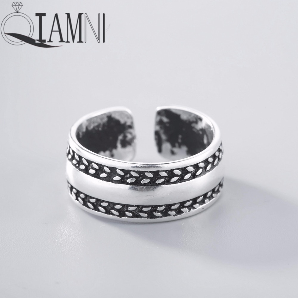 QIAMNI 925 Thai Silver Punk Cross Twist S shaped Flower Bands Open Ring Christmas Jewelry for