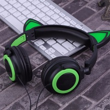 Cute wired  For girl Folding LED Luminous Earphone With Cat Ear Headset for children High quality