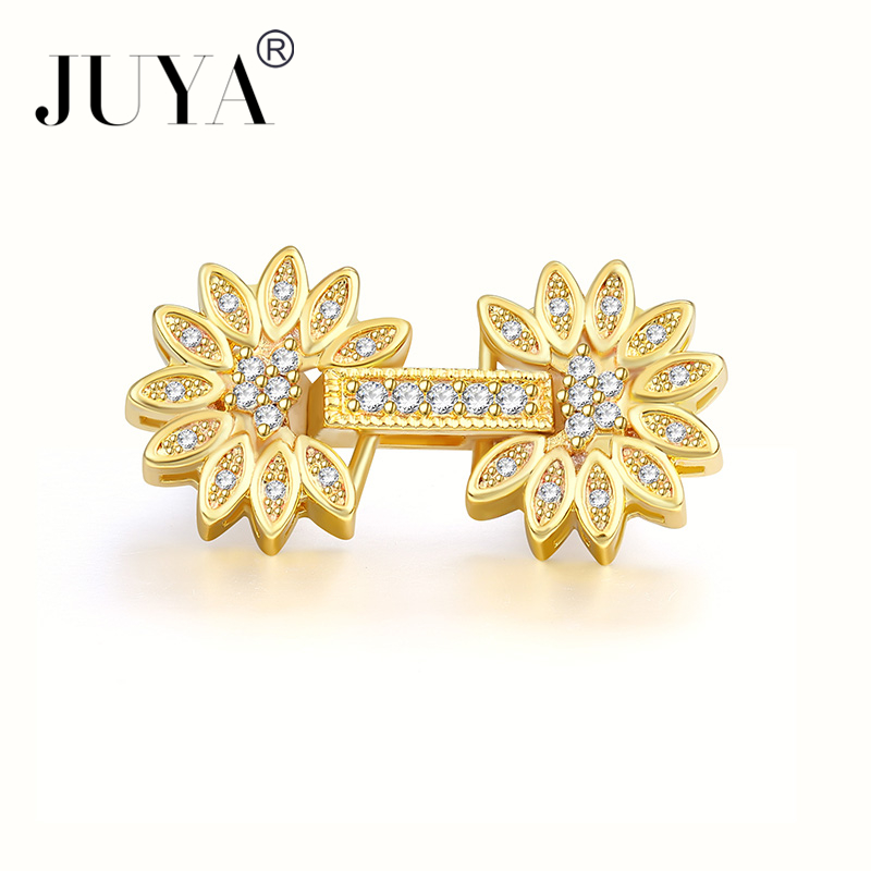 Fashion Jewelry Bijoux Zircon Flower Charms For Bracelet Jewelry Making Diy Copper Micro Pave Clasps Charms Jewelry Accessories