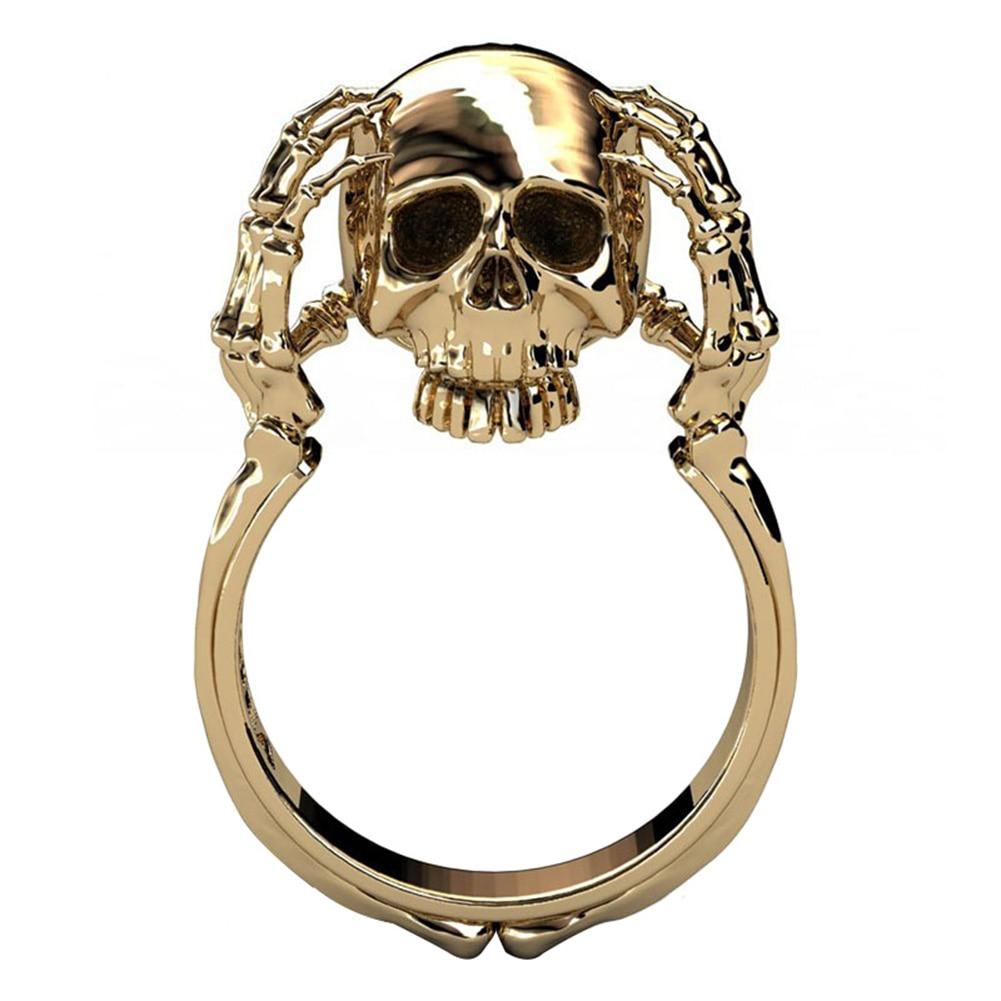 Fashion Creative Skull Design Punk Alloy Women Lady Finger Rings Jewelry Gift
