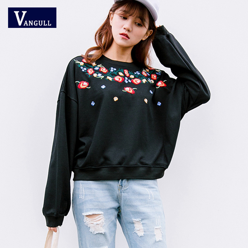 VANGULL Korean version pullovers Women Sweatshirts Flowers Embroidery  fashion O Neck Long sleeves Casual loose top Sweatshirts-in Hoodies    Sweatshirts from ... 93e182af658d