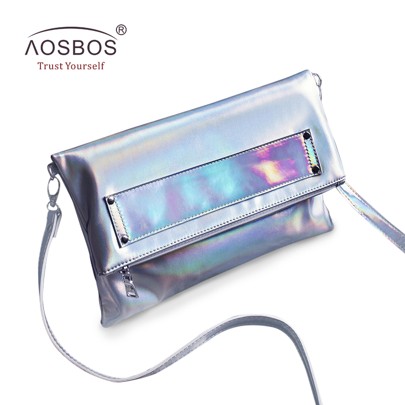 Aosbos Women Foldable PU Leather Handbags High Quality Solid Shoulder Bags Ladies Envelope Messenger Bag Holographic Clutch Bag 2017 new arrival women envelope shoulder bag high quality pu leather messenger bags fashion style women bag yellow st9340