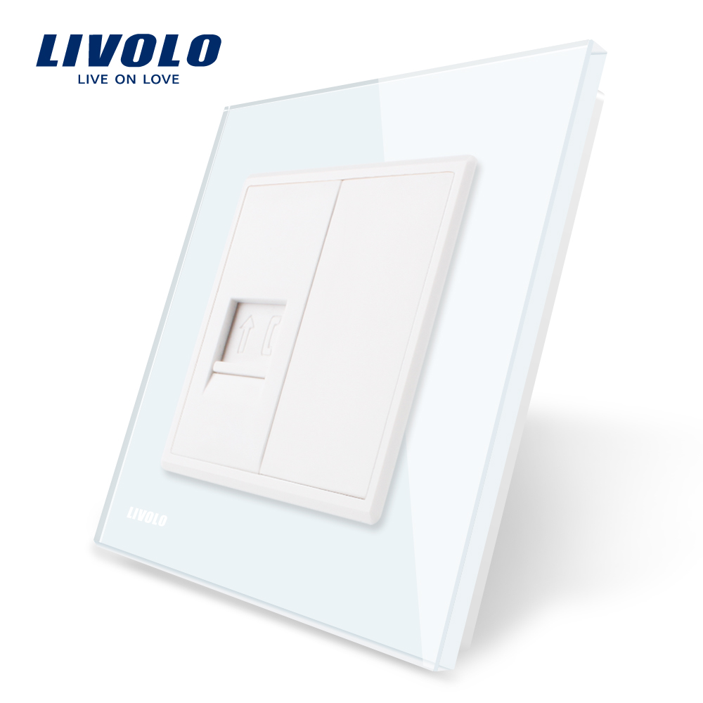 Livolo 4colors Crystal Glass Panel, One Gang Telephone Socket / Outlet VL-C791T-11/12/13/15, Without Plug adapter