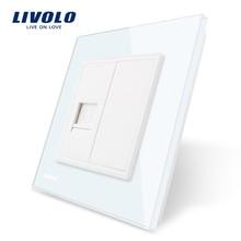 Livolo Panel de Cristal Cristal Blanco, uno Gang Teléfono Socket/Salida VL-C791T-11, sin adaptador de Enchufe