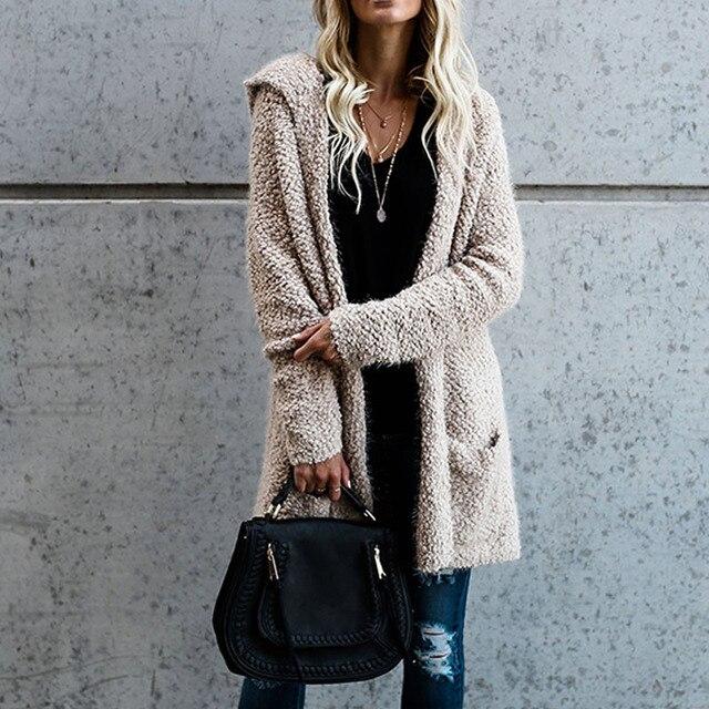 dd97479418 Women Oversized Long Cardigan Hooded Sweater 2018 Spring Winter Warm Sweater  Coat Outwear Long Sleeve Pockets