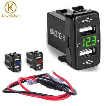 새로운 dc 5 v-24 v 듀얼 usb 포트 자동차 충전기 도요타 2 usb 자동차 소켓 전원 어댑터 led 디지털 전압계 미터 디스플레이