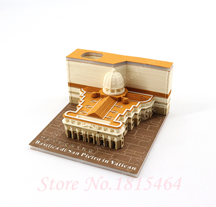 3D S.Peter Cathedral Model Creative Paper Net Red Stereo Stickers Present World Architectural DIY Culture Model Gift Decoration - 2