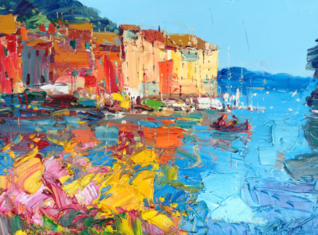 Bright Colors Abstract Design Landscape Gondola Oil Painting Canvas Venice Ship Picture On