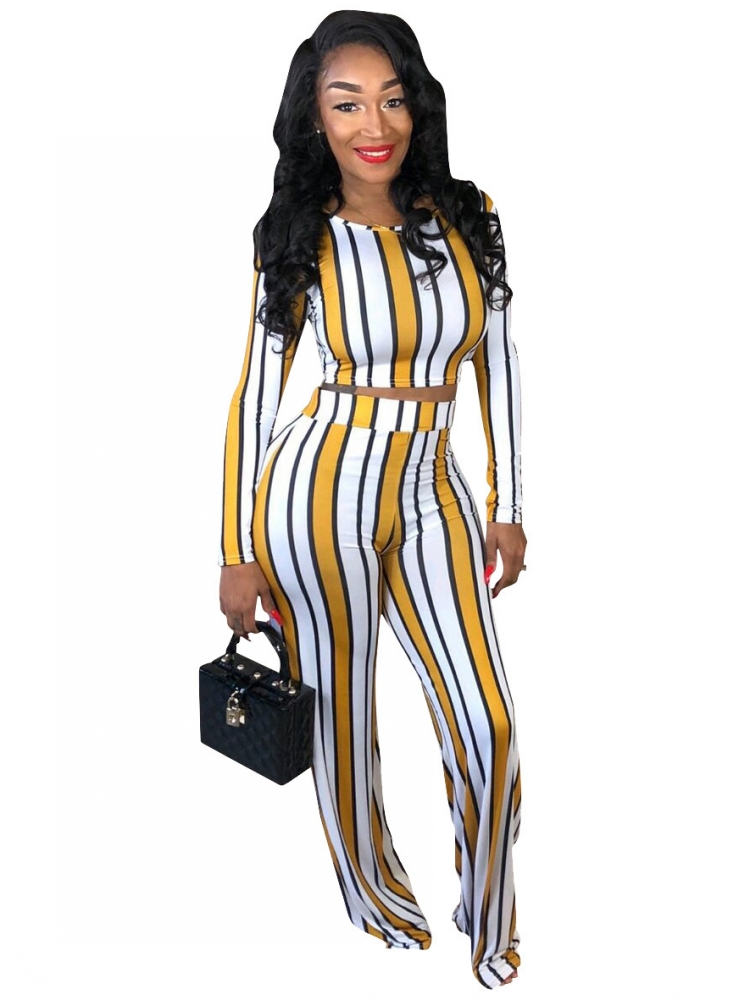 <font><b>Sexy</b></font> 2 two piece set top and pants autumn outfits tracksuit women long sleeve wide leg pants striped print <font><b>ensemble</b></font> <font><b>femme</b></font> image