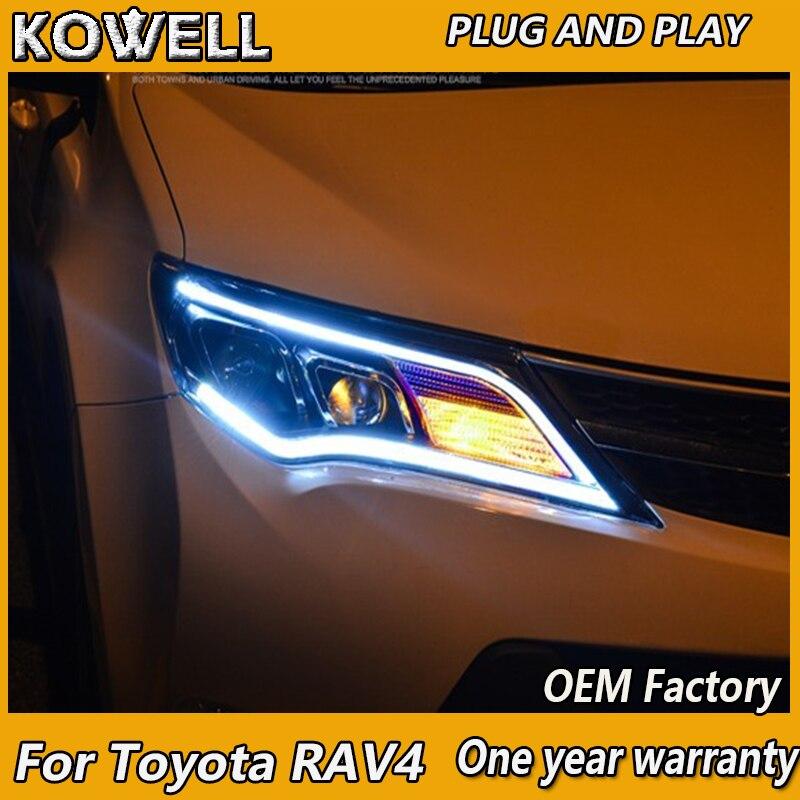 KOWELL style de voiture pour Toyota RAV4 LED phares 2014-2015 nouveau RAV4 phare DRL Bi xénon lentille feux de croisement feux de brouillard