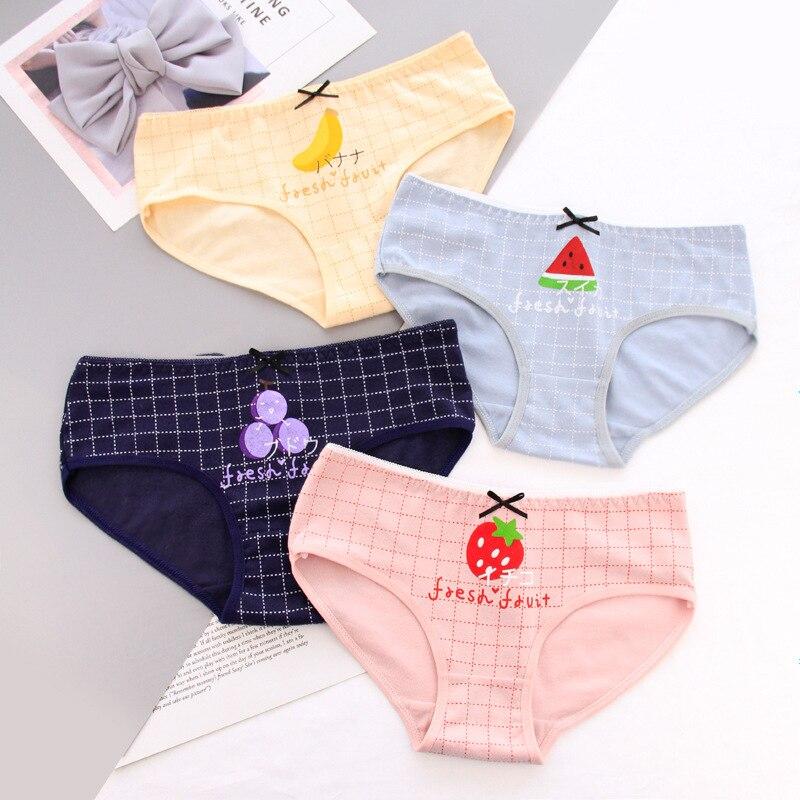 SP&CITY Cartoon Girl Cute Underwear Women Fruit  Kawaii Panties Soft Physical Cotton Panties Seamless Briefs Female Lingerie