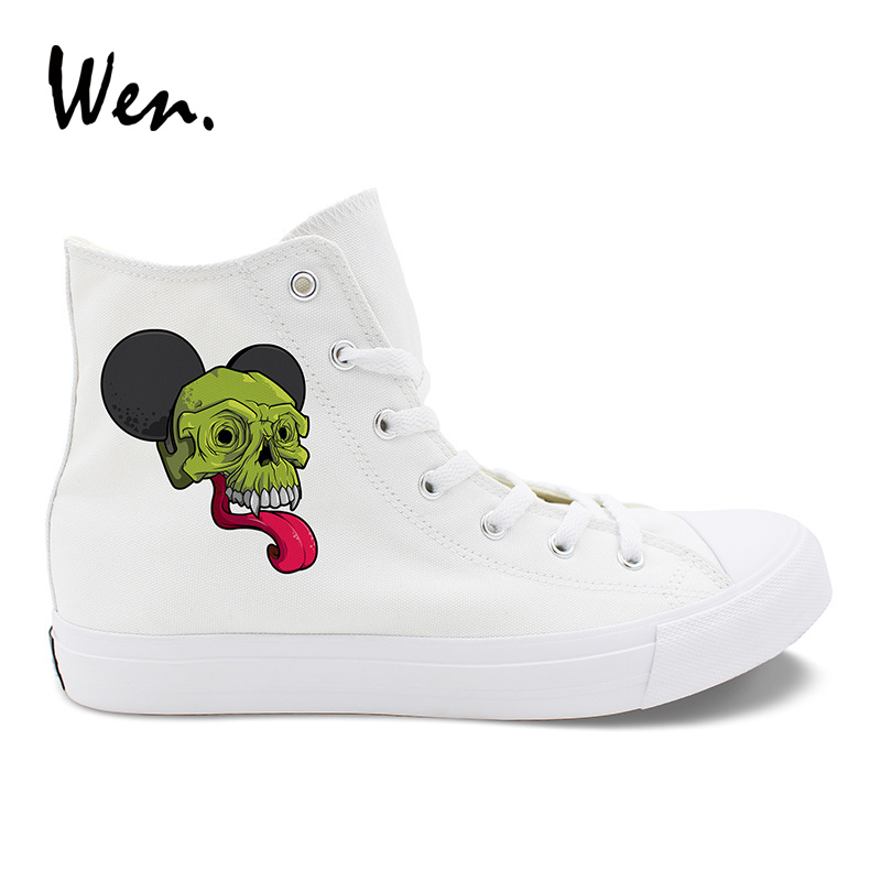Wen Big Ears Long Tongue Skull Style Canvas Shoes High Top Women Men's Espadrilles Flats Sneakers White Black Plimsolls Zapatos