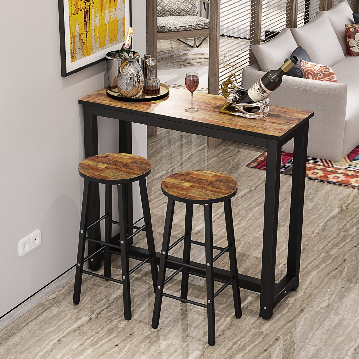9 Piece Pub Table Set, Counter Height Dining Table Set with 9 Bar ...