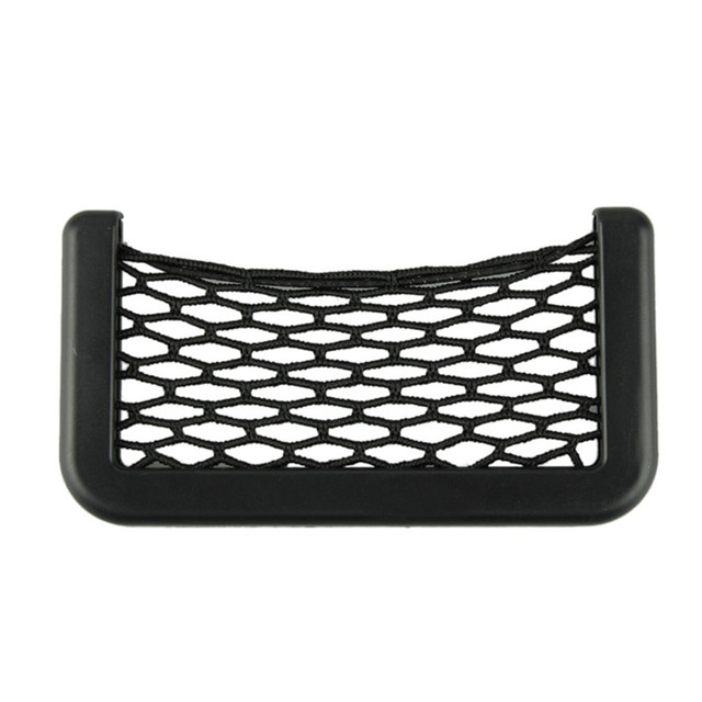 15X8cm Automotive Bag With Adhesive Visor Car Net Organizer Pockets Net Convenient cell phone Bag For Car  2