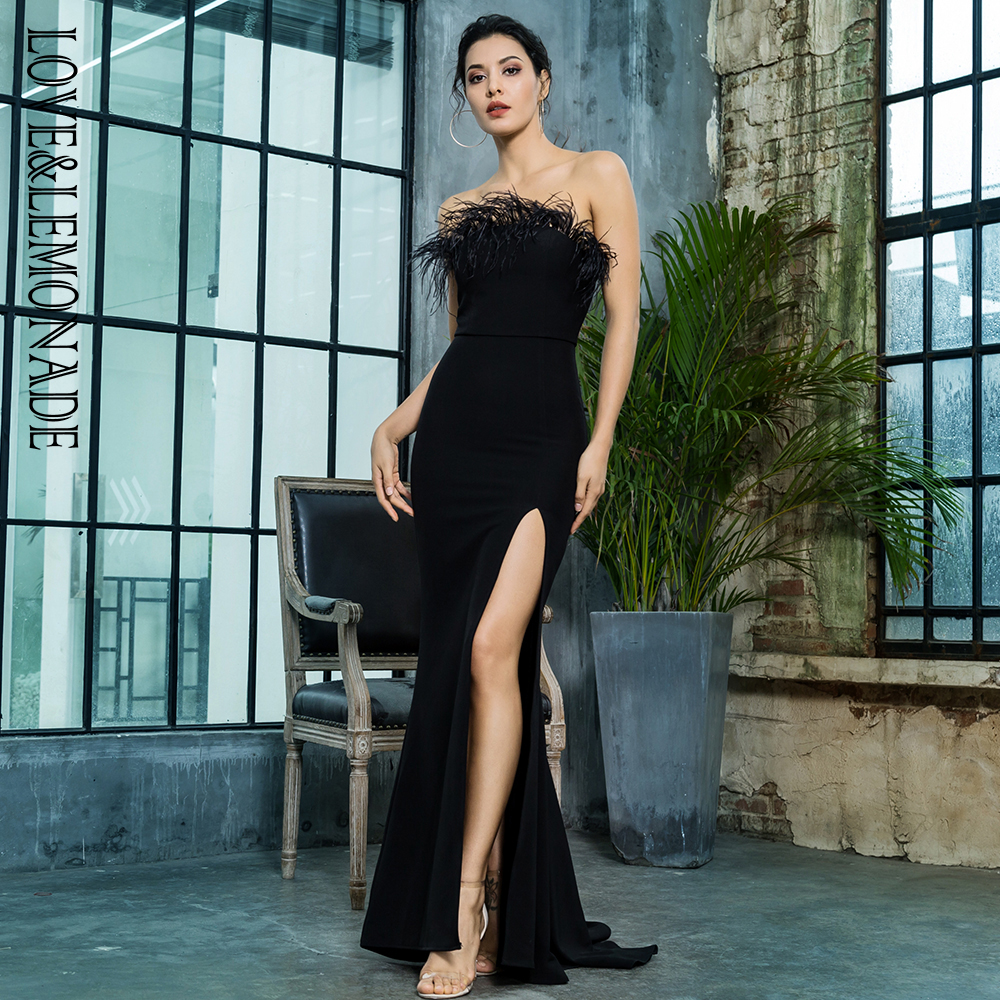 Love Lemonade Black Strapless Cut Out Feather Long Dress LM81481