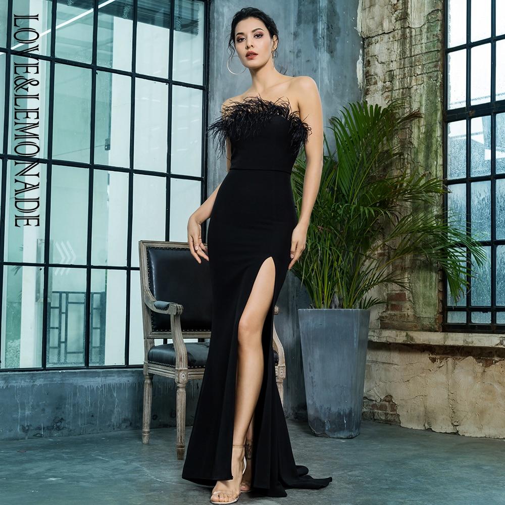 Love&Lemonade Black Strapless Cut Out Feather Long Dress LM81481