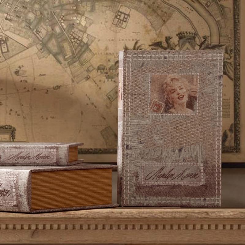 Vintage Fake Book Luxury Decorative Book Photography Props Retro Fake Books Storage Box Wook
