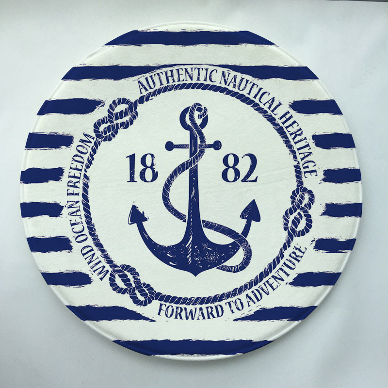 60x60cm  sea blue series Print  Round Doormat Non-slip Rug Pad Carpet Kids Room Home Decor Floor Mat Water Absorption Mat