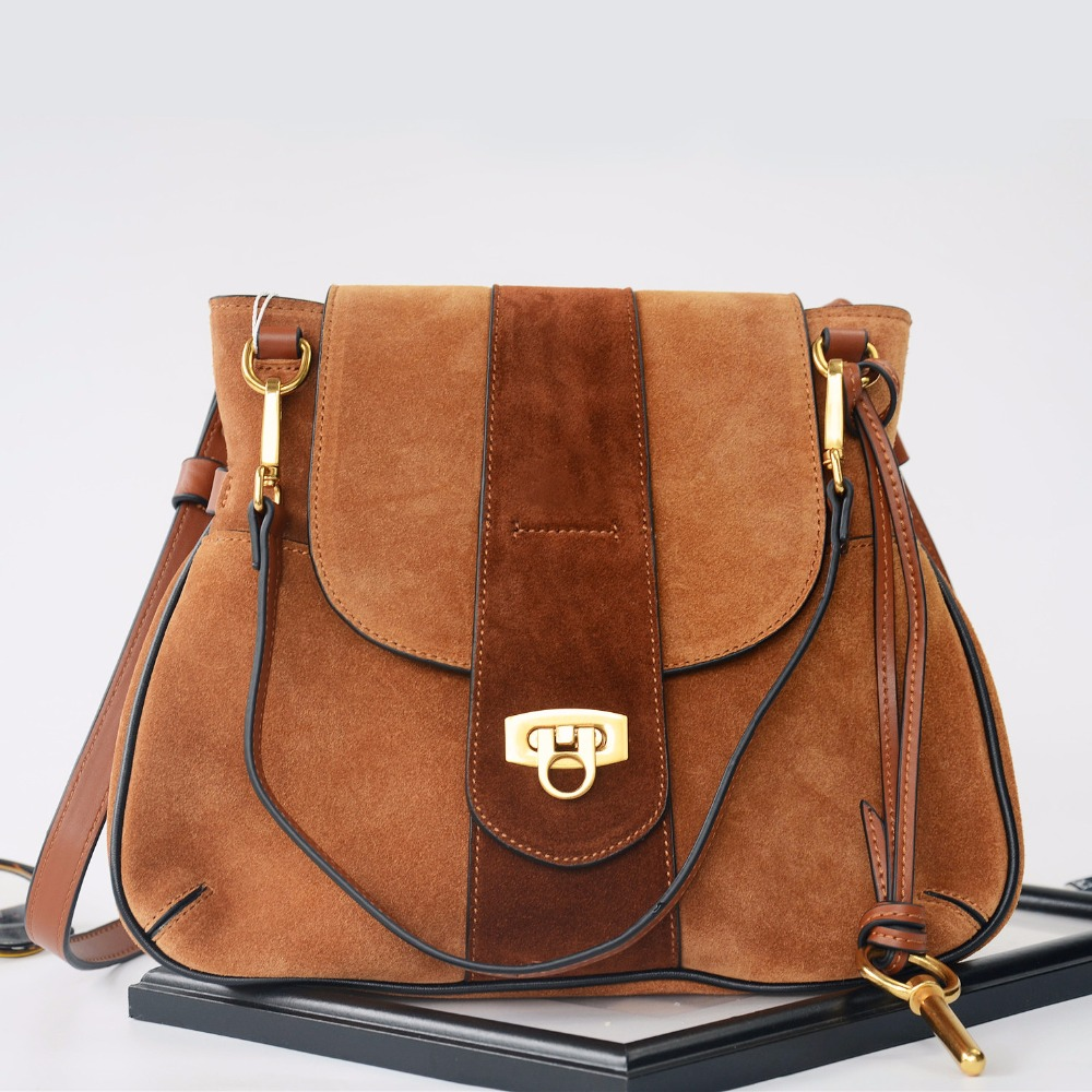 2018 Large Suede Shoulder Bags Saddle Luxury Handbags Women Bags Designer High Quality Famous Brands Crossbody Bags For Women burminsa brand winter round saddle genuine leather bags smiley designer handbags high quality shoulder crossbody bags for women
