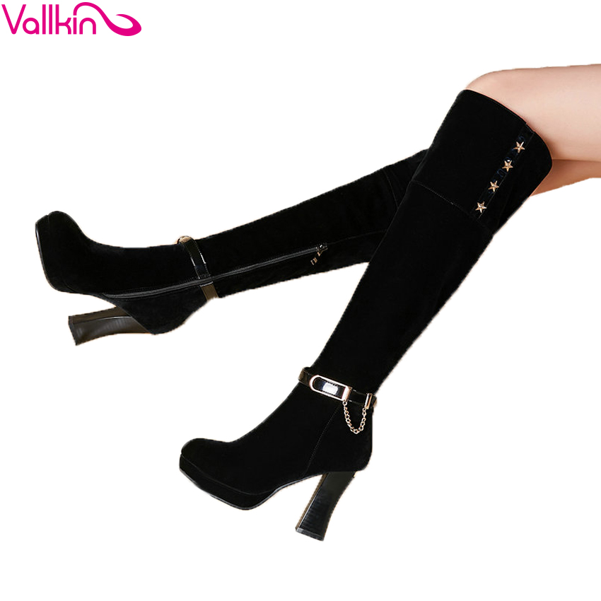 Chains 2016 Western Style Women Boots  Square High Heel Over The Knee Boots Autumn Winter Shoes Sexy Fashion  Boots Size 34-40 qiu dong in fashionable boots sexy and comfortable women s shoes the new national style high heel heel thick heel