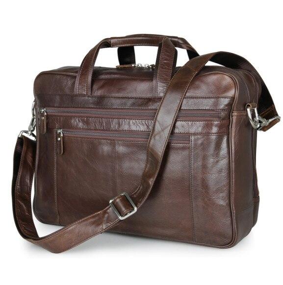 d08c7e3b9ce5 2018 Men Casual Briefcase Business Shoulder Genuine Leather Messenger Bags  17 inch Computer Laptop Handbag Men s Travel Bags