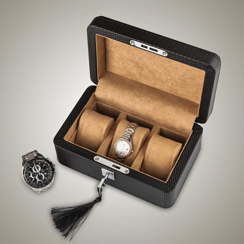 Caixa de Relógio Design de Fibra de Carbono de Couro Box com Bloqueio de Armazenamento de Jóias Slots Novo Preto Assista Mostrar Case Mulheres W031 Yao 3