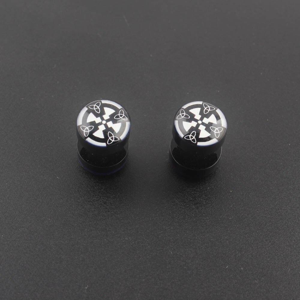 LUBINGSHINE Man Earrings Jewelry Black Resin Simle Face Pattern Geometric Round Circle Stud Earrings For Women Men Wholesale