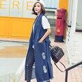 [XITAO] 2016 nuevo otoño sin mangas delgado del chaleco delgado traje de chaleco Chaqueta de Mezclilla cuello Mujeres HJF007