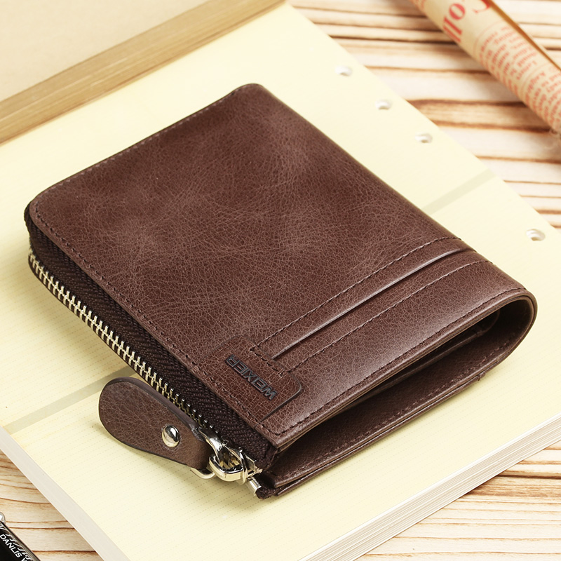 MEN/'S LEATHER WALLET CREDIT CARD HOLDER COIN ZIPPER POCKET VINTAGE PURSE