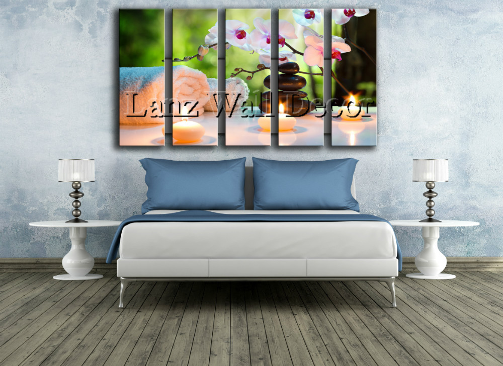 NO WOODEN FRAME 5 pieces abstract oil painting fengshui spa zen ...