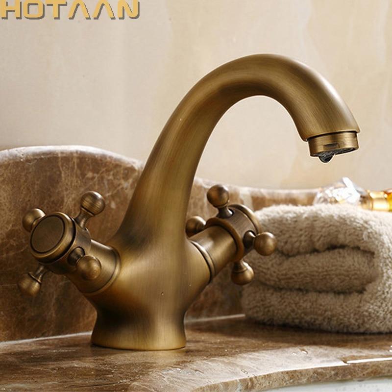 HOTAAN Solid Brass Bronze Double Handle Control Antique Faucet Kitchen Bathroom Basin Mixer tap Robinet Antique YT-5021