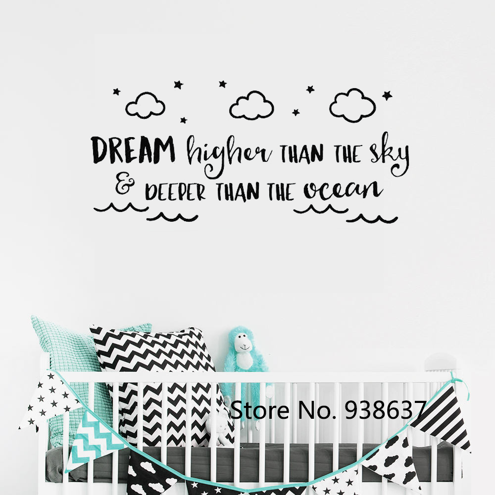 US $6.32 32% OFF Nursery Quote Wall Stickers Baby Boy Room Decor Vinyl Wall  Decal Dream Higher Than The Sky Clouds Decals Bedroom Wallpaper ZB623-in ...