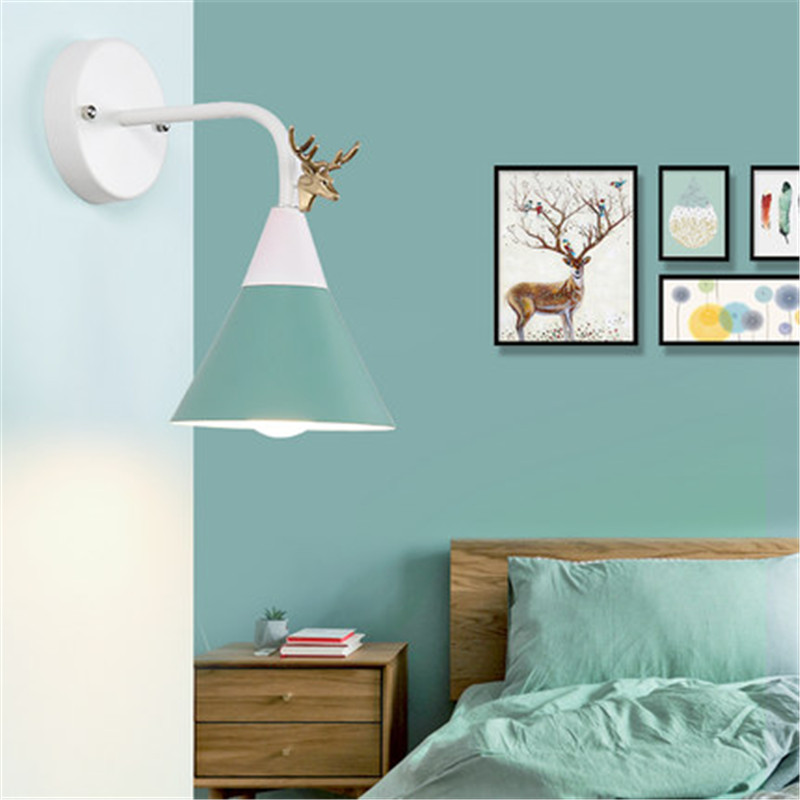 Nordic Loft Style Iron Antlers Modern LED Wall Light Fixtures Industrial Wind Wall Sconce Bedroom Bedside Wall Lamp Lighting nordic loft creative loft milan industrial style modern bedroom study long arm living room villa copper bronze wall sconce lamp
