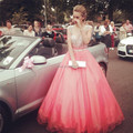 Elegant Coral Prom Dresses Ball Gowns with Sparking Beads Crystal Sleeveless Long Celebrity Gowns Custom Made Women Party Dress