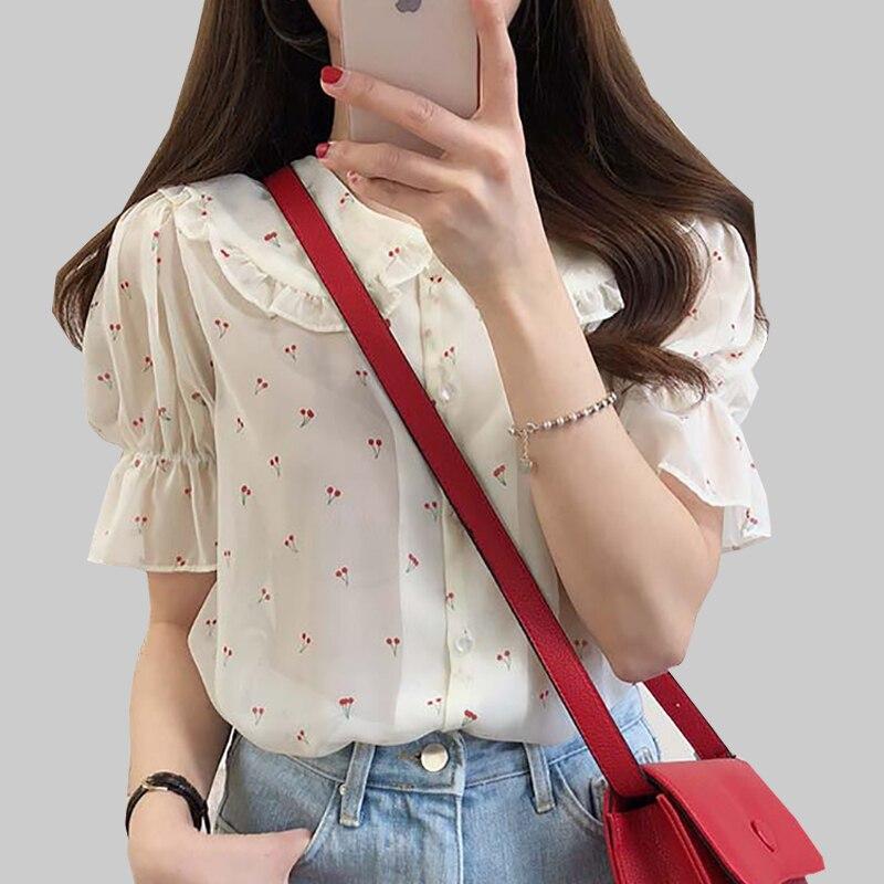 Shintimes Peter Pan Collar Chiffon Blouse Short Sleeve Floral Shirt Summer Ladies Tops And Blouses 2019 Korean Chemisier Femme