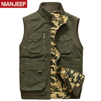 NIAN JEEP Brand Clothing Spring And Autumn Men vest Multi pocket Men Photographic Cotton Two Side Wear Waistcoat 110