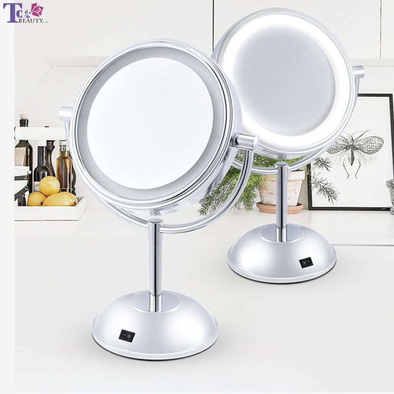 Makeup Mirror Double Sided Magnifying Professional Silver Metal Compact LED Light Lamp 360 Rotating Desktop For Women Vanity nyx professional makeup двустороннее зеркало dual sided compact mirror 03
