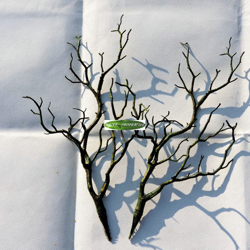 3pcs 36cm Manzanita Decorative Dry Artificial Fake Foliage Plant Tree Branch Wedding Home Church Office Furniture Green White F4