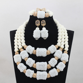 Fashion White Coral/Crystal Beaded Bridal Necklace Set Fabulous Ceremony Party Women Jewelry Set 2017 New Free ShippingABL998