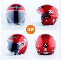 Casco abierto de motocicleta para niños, máscara con patrón de dibujos animados, 48-52cm