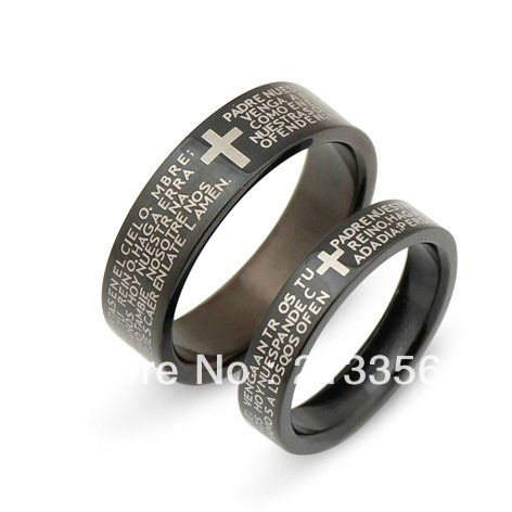 2pcs free shippingusa wholesales cheap price 46mm 316 stailess steel his - Cross Wedding Rings