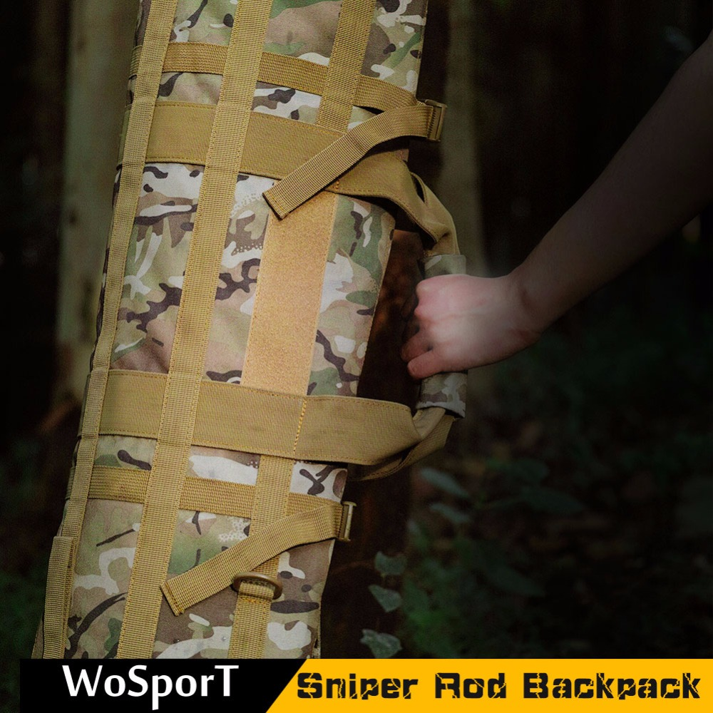 WoSporT2017 Tactical Backpack Sniper Rod Portable Heavy Duty Large Capacity Carrying Case Hunting Fishing Bag shooting camping 47 folding fishing rod bag tactical duel rifle gun carry bag with shoulder strap outdoor fishing hunting gear accessory bag