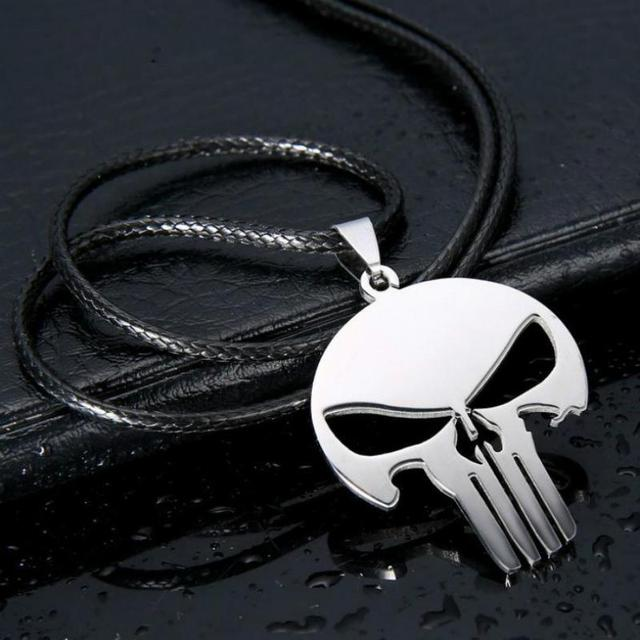 New Fashion Personality Charm Woman, Men's Jewelry Superhero Punishment Skull Dark Knight High Quality Stainless Steel Necklace  by Huapengyang