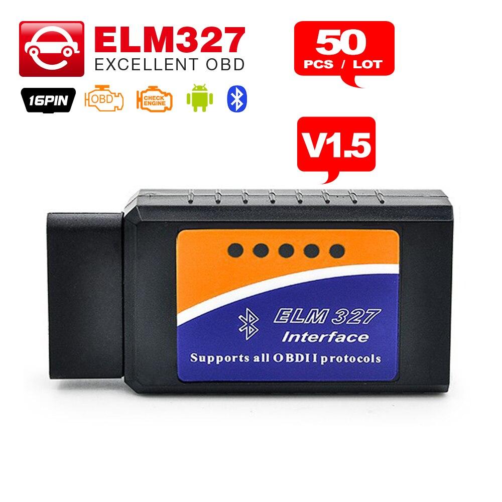 imágenes para 50 Unids/lote DHL libre ELM327 V1.5 Bluetooth/Wifi/ELM 327 USB opcional Compatible Con OBD II Protocolos OBDII OBD2 Diagnostic escáner